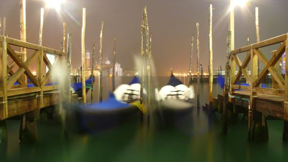 A great shot of gondolas bobbing on the Grand Canal at night - made possible by the Gorillapod.