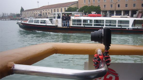 The Gorillapod held the camera in place despite juddering from the engine and buffeting from a strong wind.