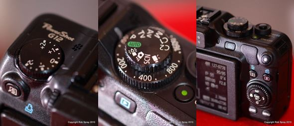 (L-R) The exposure compensation dial, the mode and ISO dials on top, plenty of buttons but they don't comprimise a good, stable grip