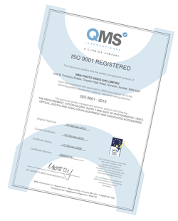 ISO 9001 : 2015 Certificate for Wex Photo Video (UK) Limited