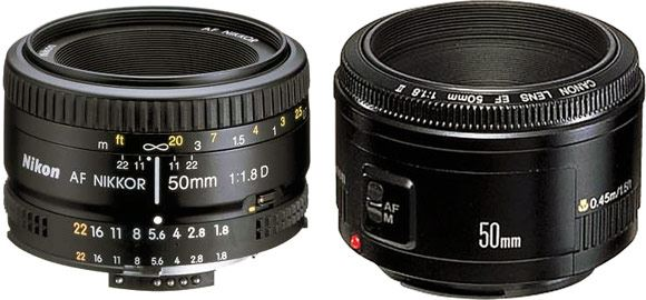 The hugely popular Nikon and Canon 50mm f1.8 lenses