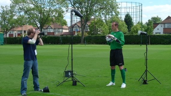 Chris Reeve shooting Mark Schwarzer with the Bowens Explorer set up