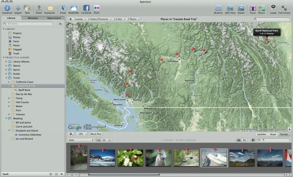 Just like iPhoto, Aperture automatically converts GPS data into user-friendly Place names