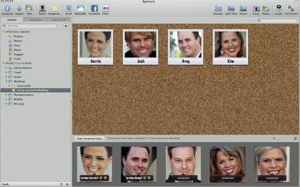 View the faces associated with a single project