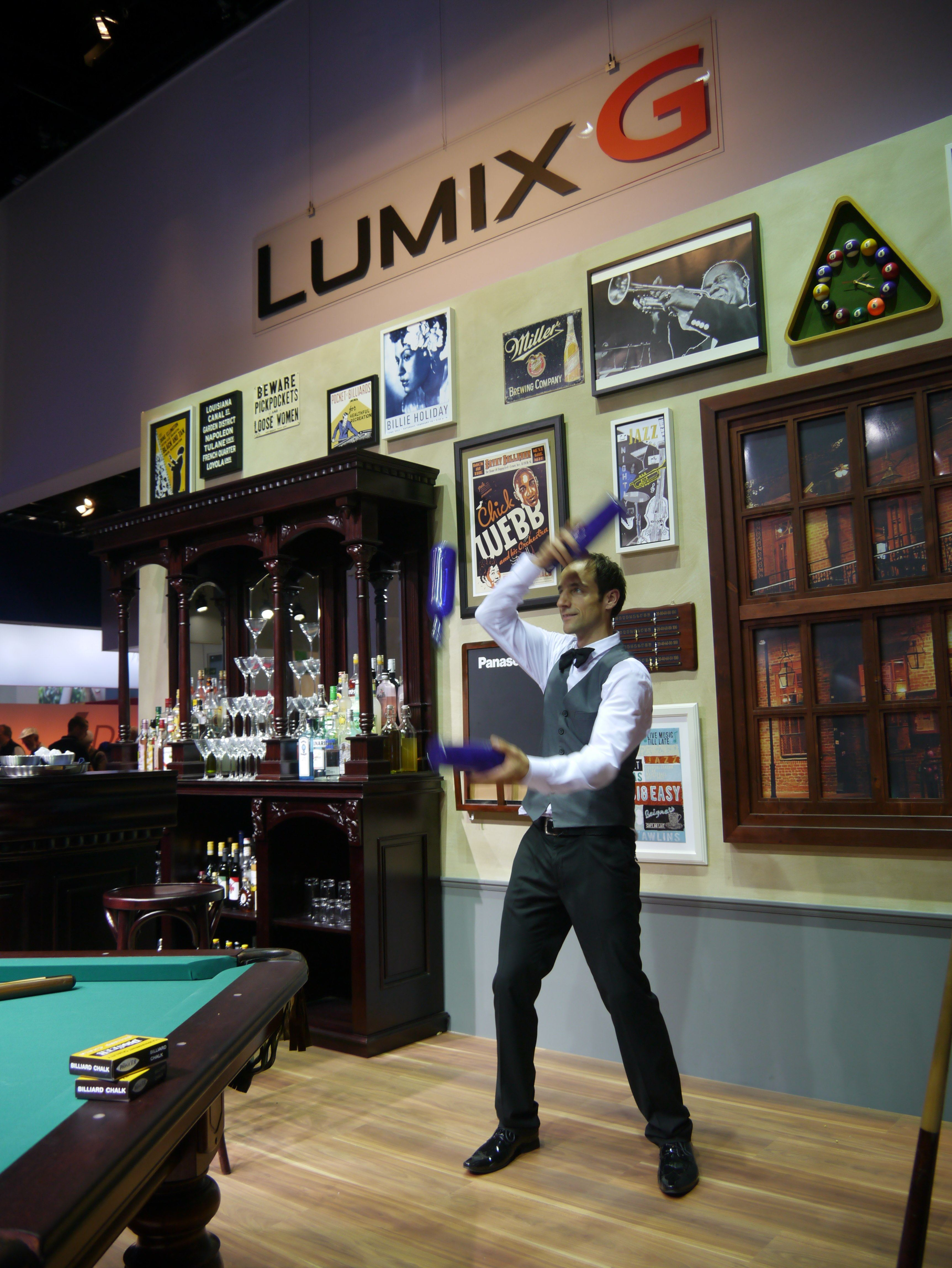 Lots to see & photograph on the Panasonic stand, even a juggling bartender!