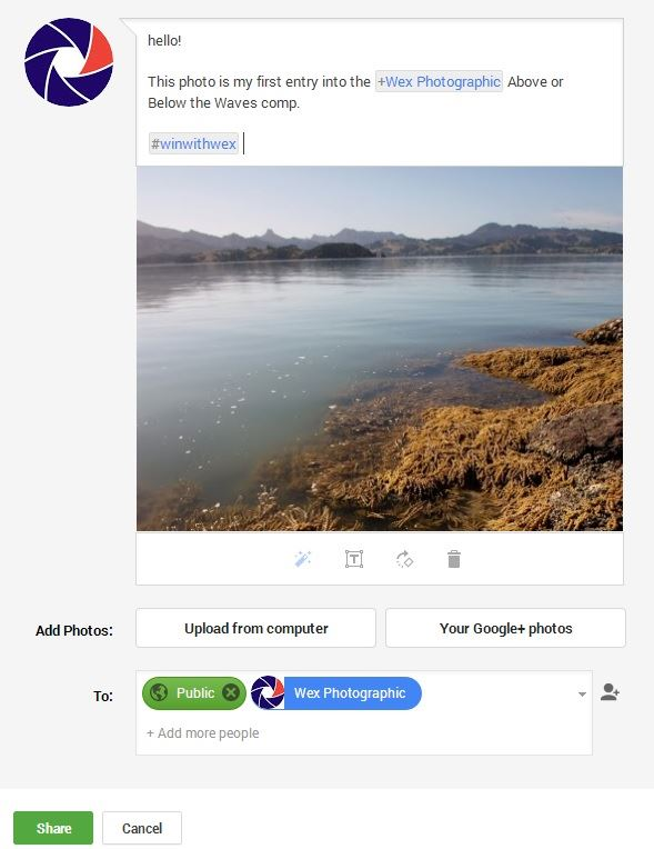 Adding photo in Google+