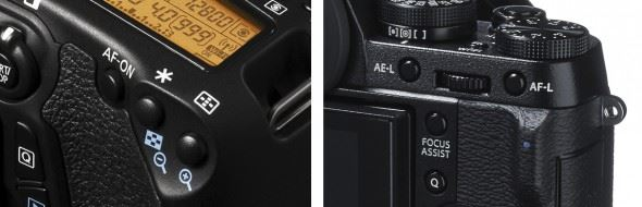 The control for AE-L/AF-L on many Canon DSLRs (left) is marked by an asterisk, while on the Fujifilm X-T1 (right) it is split into separate AE-L and AF-L buttons