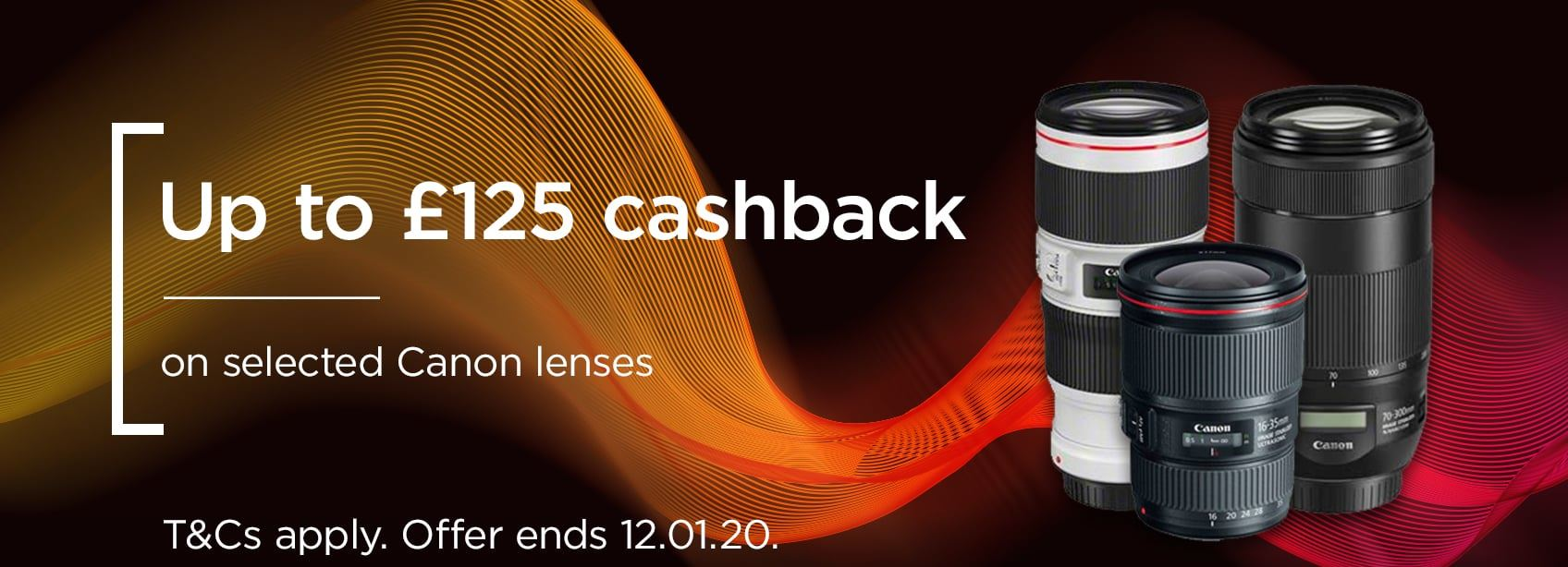 Up to £125 cashback on selected Canon lenses