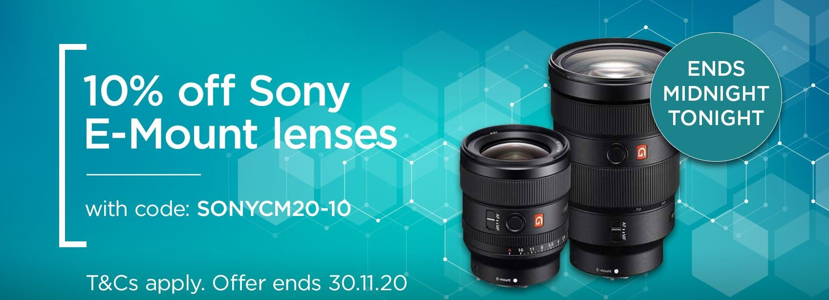 10% off Sony E-Mount lenses with code SONYCM20-10