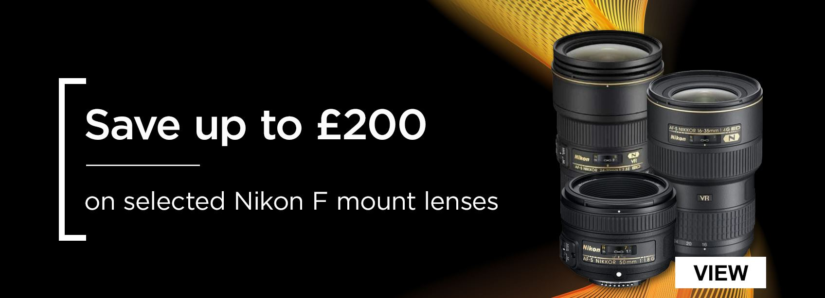 Save up to £200 on selected Nikon F Mount lenses