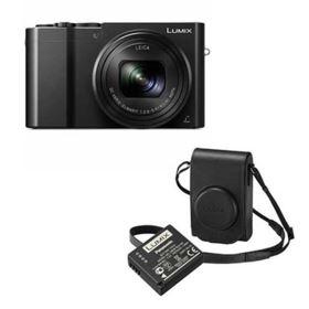 Panasonic LUMIX DMC-TZ100 (Black) with Leather Case (Black) and Battery Kit