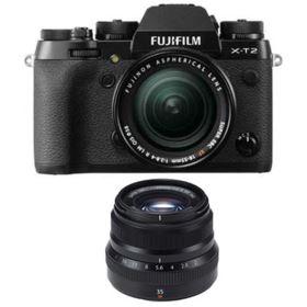 Fujifilm X-T2 Digital Camera with 18-55mm XF lens + 35mm f2 R WR Fujinon Lens - Black
