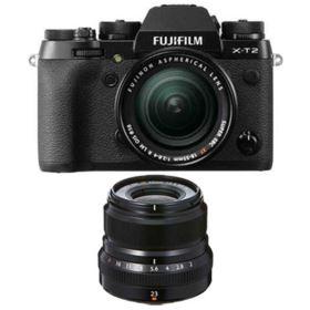 Fujifilm X-T2 Digital Camera with 18-55mm XF lens + 23mm f2 R WR XF Lens - Black