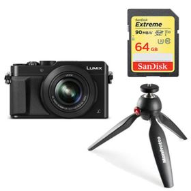 Panasonic LUMIX DMC-LX100 (black) with SanDisk 64GB 90MB/Sec SDXC and Manfrotto PIXI Tripod