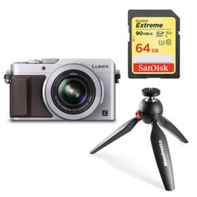 Panasonic LUMIX DMC-LX100 (silver) with SanDisk 64GB 90MB/Sec SDXC and Manfrotto PIXI Tripod