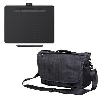 Image of Wacom Intuos Medium Bluetooth - Black + Calumet Messenger Bag - Medium - Dark Grey
