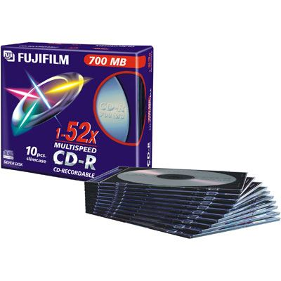 Fuji CDR with Slim Cases 700MB  52x Speed  10 Discs