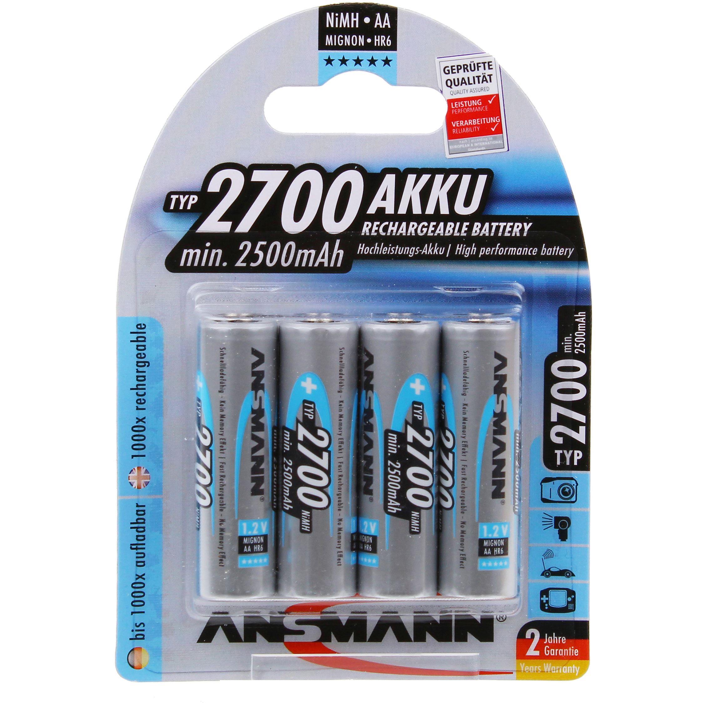 Image of Ansmann 4 x AA NiMh 2700mAh Batteries