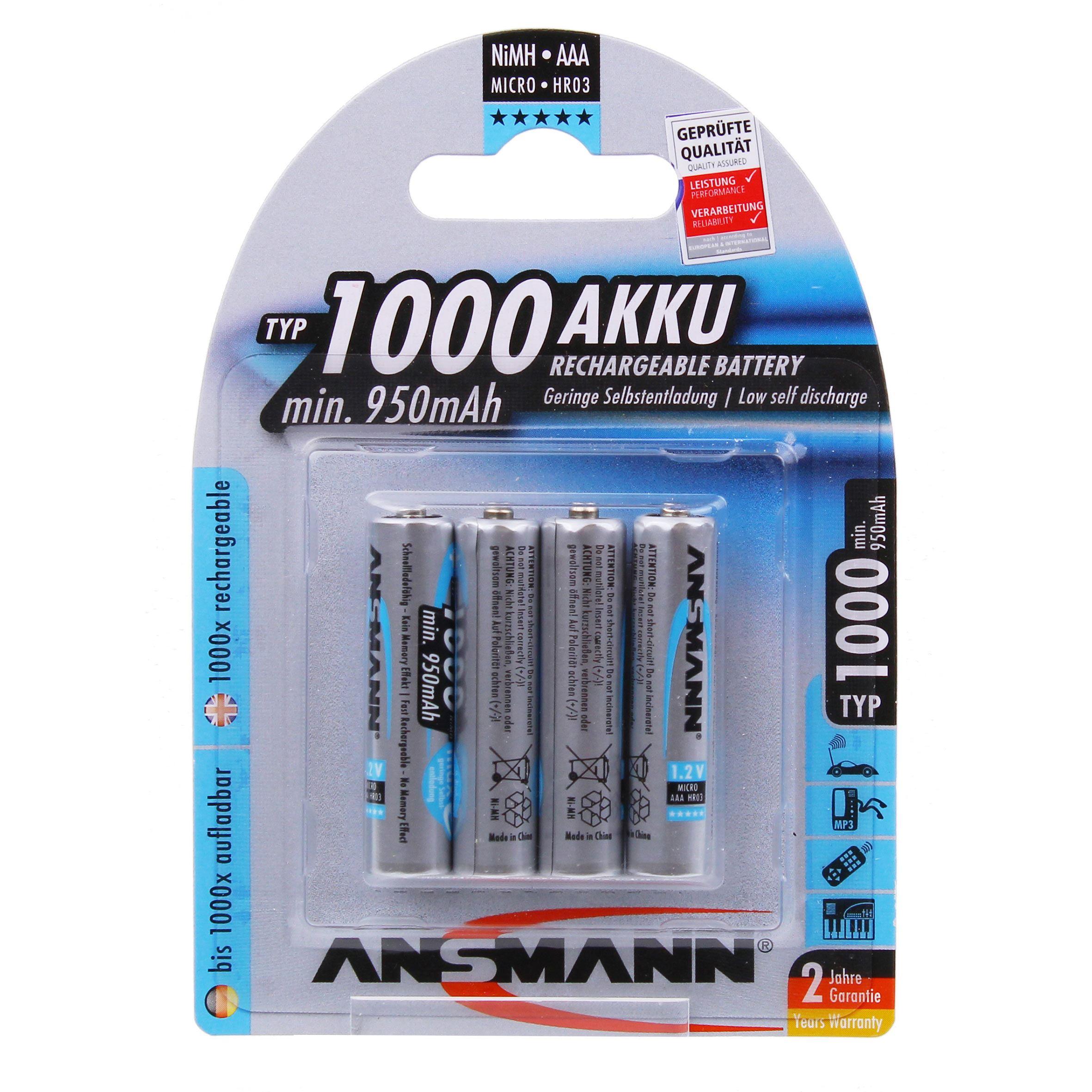 Image of Ansmann 4 x AAA NiMh 1000mah Batteries