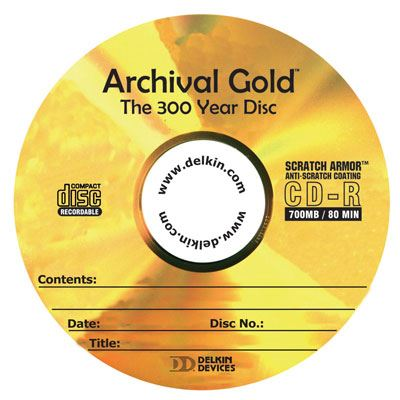 Image of Delkin CD-R Archival Gold Scratch Armor - 25 Discs
