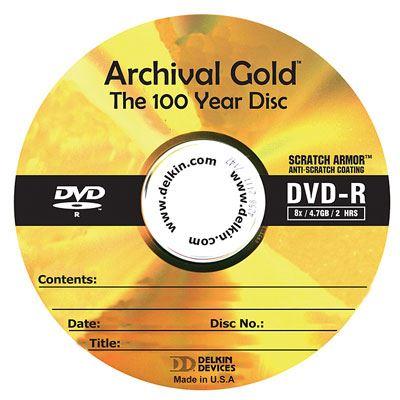 Image of Delkin DVD-R Archival Gold Scratch Armor 8X - 25 Discs