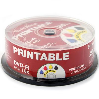 Image of Fujifilm DVD-R Printable InkJet 4.7GB - 16x Speed - 25 Discs