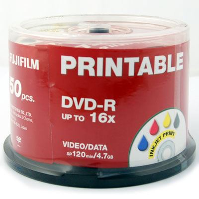 photo about Printable Dvd Discs named Fujifilm DVD-R Printable InkJet 4.7GB - 16x Rate - 50 Discs