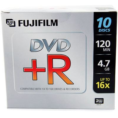Image of Fujifilm DVD+R with Jewel Cases 4.7GB - 16x Speed - 10 Discs