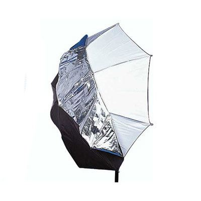 Image of Interfit 109cm Translucent Umbrella with Silver/Black Cover - 7mm Shaft