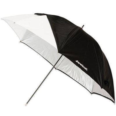 Westcott 43inch White Satin Collapsible Umbrella with Removable Black Cover