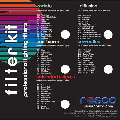 Rosco 30.48x30.48cm Cinegel Sampler (Variety) Filter Kit