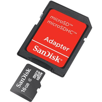Image of SanDisk 16GB Mobile microSDHC Card with SD Adapter