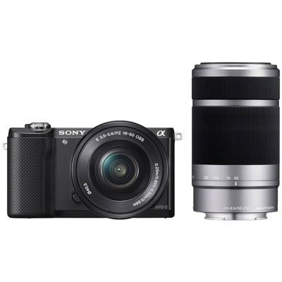 Used Sony Alpha A5000 Digital Camera with 1650mm PZ  55210mm Lenses  Black