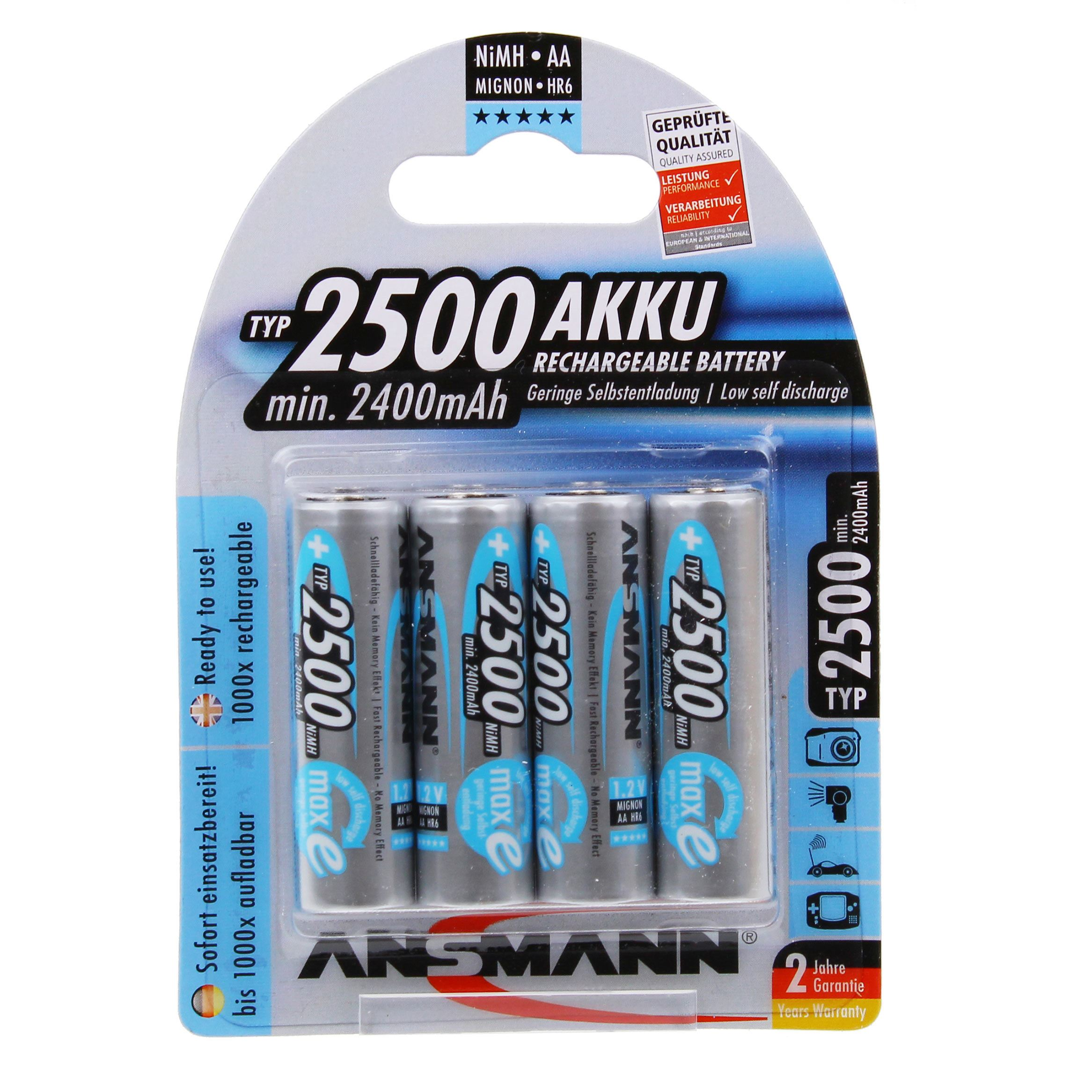 Image of Ansmann 4 x AA 2500mAh-Max e Batteries