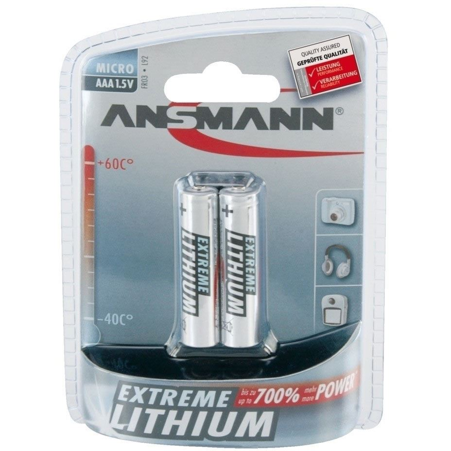 Image of Ansmann Extreme Lithium Range 2 x AAA Batteries