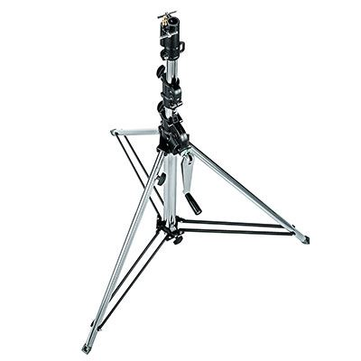 Manfrotto 087NWSH Short Wind-Up Light Stand with Safety Release Cable - Silver
