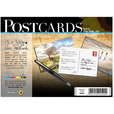 Permajet 6 x 4 Inch Gloss Postcards - 25 Sheets