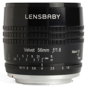 Lensbaby Velvet 56mm f1.6 Lens - Nikon Fit - Black