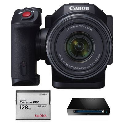 Image of Canon XC10 4K Compact Camcorder with SanDisk 128GB CFast Card and Reader