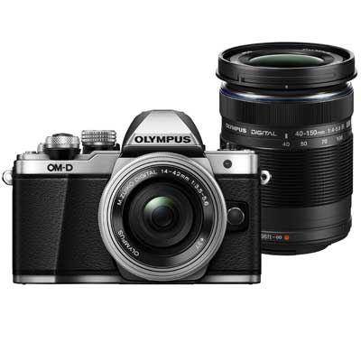 Olympus OMD EM10 Mark II Digital Camera with 1442mm EZ Lens and 40150mm Lens  Silver