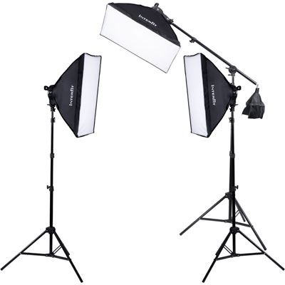 Image of Interfit F5 Three-Head Fluorescent Lighting Kit with Boom Arm