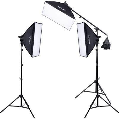 Image of Interfit F5 Three-Head Fluorescent Lighting Kit with Boom Arm