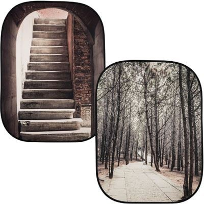 Lastolite Urban Collapsible Reversible Background 1.5 x 2.1m - Stone Steps / Winter Trees