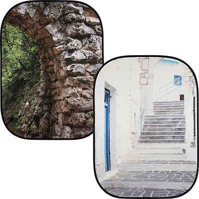Lastolite Urban Collapsible Reversible Background 1.5 x 2.1m - Stone Archway / Grecian Steps
