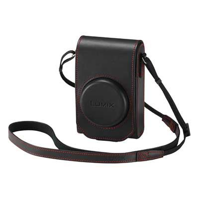 Panasonic TZ100 Leather Case and Battery Kit - Black / Red