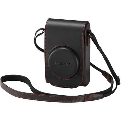 Panasonic TZ100 Leather Case  Black  Red