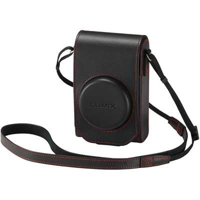 Panasonic TZ100 Leather Case - Black / Red