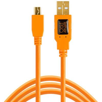 TetherTools TetherPro USB 2.0 Male to Mini-B 5 pin 15 foot Hi-Visibility Orange