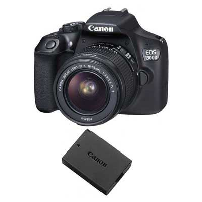 Image of Canon EOS 1300D Digital SLR Camera with 18-55mm IS II Lens and LP-E10 GB ELP Battery