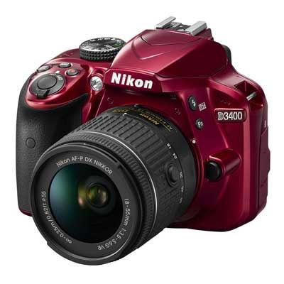 Nikon D3400 Digital SLR Camera with 1855mm AFP VR Lens  Red